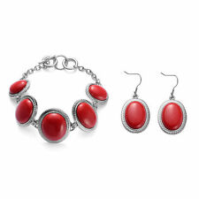 TJC Coral Bracelet (Size 8) and Hook Earrings in Silver Tone