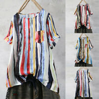 Women's Casual Round Neck Graffiti Rainbow Stripe Print top Blouse Pocket Shirt