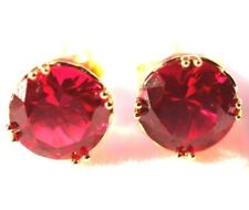 Ruby Earrings Gold: 9K Yellow gold Simulated Ruby stud earrings, Christmas gift