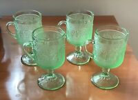 4 Tiara Indiana Glass Chantilly Green Sandwich Footed Cups Mugs