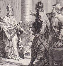 Gravure XVIIIe  Dixmes Ecclésiastiques Carloman Pépin le Bref Concile Soissons