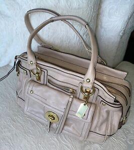 COACH TAUPE /  BLUSH  Leather Legacy Hampton Lindsay Sachel  Handbag Purse WOW