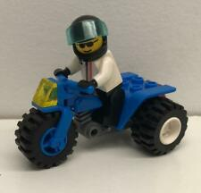 Lego Blue ATV Racer Guy Minifig Lot: figure bike tricycle city motorcycle