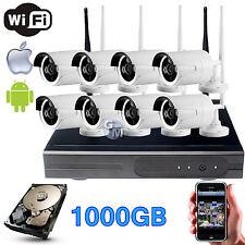 KIT DVR NVR WIRELESS WIFI 8 CANALI CH TELECAMERE HD IR REMOTO ANDROID 1000GB 1TB