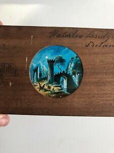 Magic Lantern Slide Waterloo Bridge Ireland Antique Glass Wooden Hand Painted