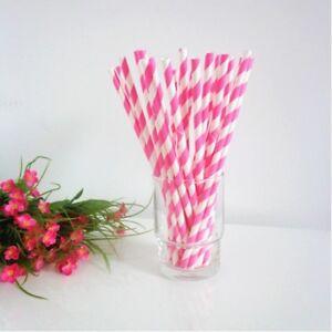 Paper Straws Pink and White Wedding Paper Drinking Straws Birthday