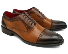 *B4 UK 8 NEW MENS BROWN BROGUE SHOES LACE UP 3 TONE REAL LEATHER SMART EU 42