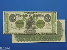 Reproduction $20 1861 Greenback US Paper Money Currency Copy