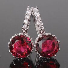 18ct white gold filled garnet Ruby Coloured Lever-back earrings Hoop Red Topaz
