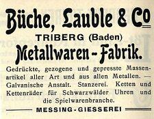 Büche, Laube & co. Triberg Baden productos metálicos-fábrica histórica publicitarias de 1908