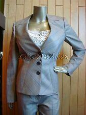 $1690 New ESCADA Gray Glen Plaid Stripe Logo Button Wool Silk Jacket 8 38
