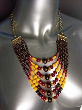 Urban Artisanal Multicolor Faux Stone Wood Beads Necklace Earrings Set