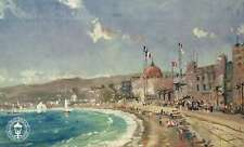 The Beach At Nice - Cote d'Azur, French Riviera - Thomas Kinkade Dealer Postcard
