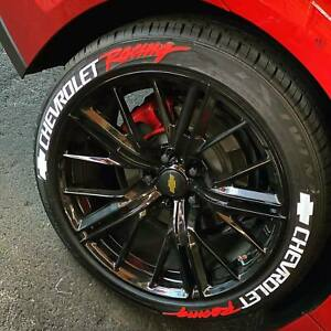 "Chevrolet Racing Stickers Tire Lettering  15""-22"" Wheels 1.00"" inch 8 pcs"