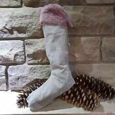 Nikolaus Stiefel Socke Vintage  Shabby Chic grau beige Weihnachten Geschenk Herz