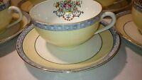 Vtg Japan 5 Tea Cup & 5 Saucer SET yellow blue Roses Floral Sconce Bone China