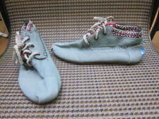 Toms Womens Sz 6.5 Tribal Trim~ Whip Stitch~Blue Cotton Lace Up Ankle Mocs Shoes