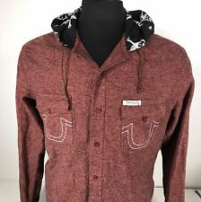 RARE True Religion Large Hoodie w Spellout - Button up Made USA