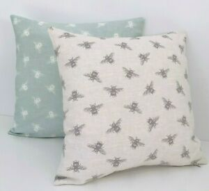 Bumble Bee Cushion Cover DOUBLE SIDED Grey & Duck Egg Cotton Fryetts Fabric