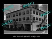 OLD LARGE HISTORIC PHOTO OF TAMPA FLORIDA, VIEW OF THE UNION BUS DEPOT c1930