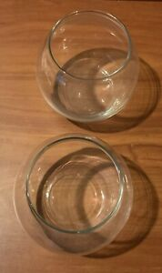 """Set 2 Round Clear Glass Bowls or Vases for Air Plants Terrarium Fish 5"""" x 5 1/2"""""""
