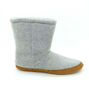 Lands End Mens Fleece Bootie Slipper Pull On Style Cushioned Gray Sz 8 NEW