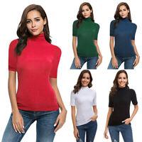 Women Short Sleeve Slim Fit Mock Turtleneck Stretch Comfy Basic T Shirt Tops LQ