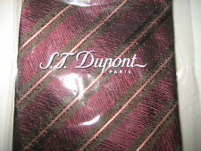 NEW S.T. Dupont Paris Red Burgundy Striped Silk Neck Tie ITALY Modern Classic