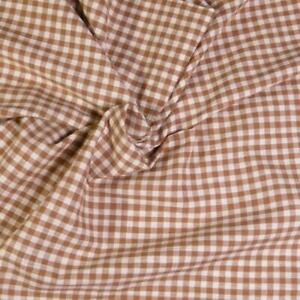 """36"""" W Vintage Woven Little Check, Brown & Ivory, Shirting Cotton, Per 1/2 Yd"""