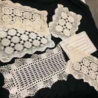Vintage Hand Crocheted Placemats Doilies Lot of 6 Ivory Rectangles
