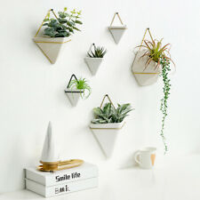 Triangle Ceramic Plant Flower Pot Hanging Succulent Vase Wall-mounted Home Decor