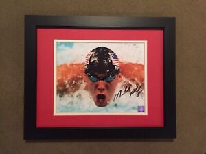 MICHAEL PHELPS USA SWIMMING LEGEND SIGNED  OLYMPICS GOAT MATTED FRAMED 16 X 13