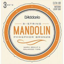 D'Addario EJ74-3D Mandolin Strings 11-40 Phosphor Bronze Medium 3 Sets Ej74