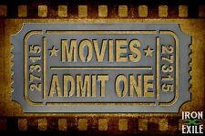 Movie Ticket Metal Wall Art Decor Vintage Theater Room Sign Vacation Home Cabin