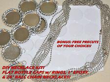 """20 DIY KIT + FREE PRECUTS! 20 FLAT BOTTLE CAPS w/ rings, 20-1"""" EPOXY,20- CHAINS"""