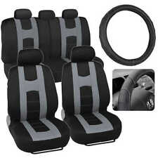 Gray Rome Sport Car Seat Covers + Stitched PU Leather Steering Wheel Cover 10 PC
