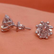 Diamond Stud Earrings Round Natural 18K White Gold SI1 GIL Certified 2 Ct