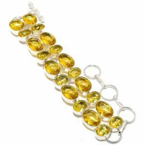 "Aaa+++ Citrine Gemstone 925 Sterling Silver Bracelet 7-8"""