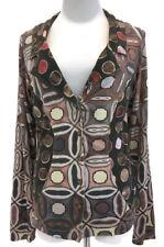 Eva & Claudi Mixed Print Stretch Top Cardigan Button Front Art To Wear Boho Sz M