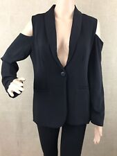 Harlowe & Graham Woman's Black Cold Shoulder One Button Blazer Sz S NWT