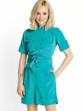 NEW FEARNE COTTON TURQUOISE BLUE BELTED SHORTS PLAYSUIT SIZE UK 14 BRAND NEW