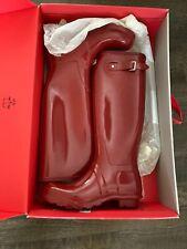 Hunter Women's Original Tall Gloss Rain Boot NIB Size 8 Military Red