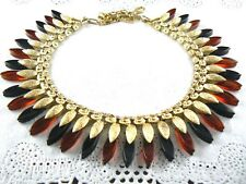 Vintage Coro Wide Chanky Necklace Gold Tone Brown Thermoset