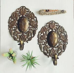 Ornate Brass Candlestick Wall Sconces Victorian Gothic Art Nouveau Cross Floral
