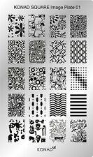 Original KONAD XL Square Stamping Schablone Plate 01 für Nailart Nageldesign