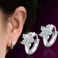 Fashion Women Lady Silver Cubic Zirconia Flower Ear Hoop Huggie Earrings Jewelry