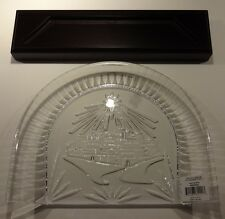WATERFORD CRYSTAL NATIVITY BACKDROP CRECHE w/ WOODEN STAND ~ IN ORIGINAL BOX