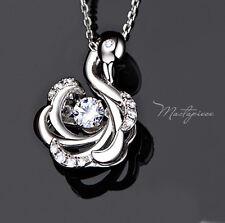 925 Silver Swan w crystal Rhinestone pendant necklace - SSW1