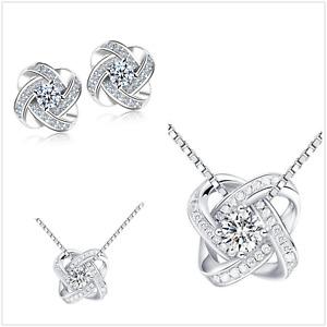 UK Sterling Silver CZ Jewellery Set Made with Swarovski Crystal