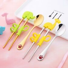 Child Portable Training Tableware Stainless Learning Chopsticks With Spoon Kids